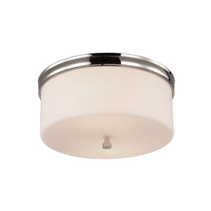 Lismore Polished Nickel Two-Light Flush Mount with Opal Etched Glass