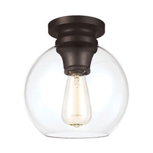 Tabby Oil Rubbed Bronze One-Light Flush Mount with Clear Glass