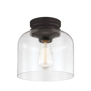 Hounslow Oil Rubbed Bronze One-Light Flush Mount with Clear Glass