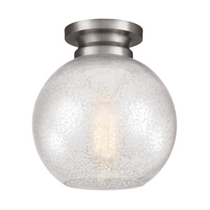 Tabby Brushed Steel One-Light Flush Mount with Silver Mercury Plating Glass