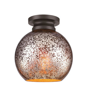 Tabby Oil Rubbed Bronze One-Light Flush Mount with Brown Mercury Plating Glass