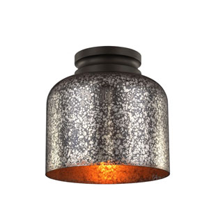 Hounslow Oil Rubbed Bronze One-Light Flush Mount with Brown Mercury Plating Glass