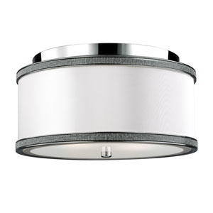 Pave Polished Nickel Two-Light Flushmount
