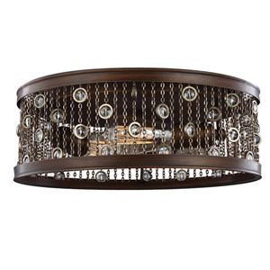 Colorado Springs Chestnut Bronze Three-Light 16-Inch Wide Flushmount