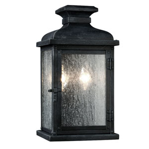 Pediment Dark Weathered Zinc Two-Light 13-Inch Outdoor Wall Sconce