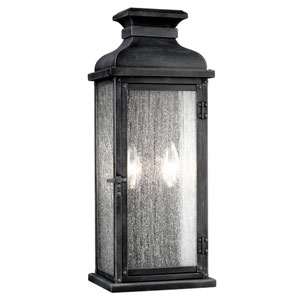 Pediment Dark Weathered Zinc Two-Light 18-Inch Outdoor Wall Sconce