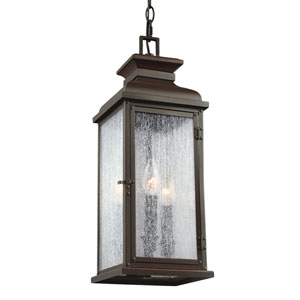 Pediment Dark Aged Copper Two-Light Outdoor Pendant