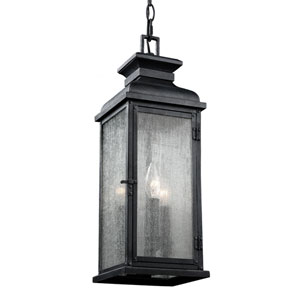 Pediment Dark Weathered Zinc Two-Light Outdoor Pendant
