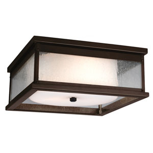 Pediment Dark Aged Copper Two-Light Outdoor Flushmount