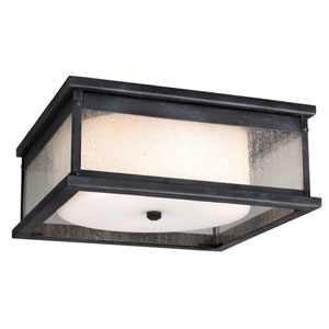 Pediment Dark Weathered Zinc Three-Light Outdoor Flushmount