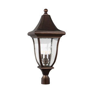 Oakmont Patina Bronze Three-Light Outdoor Post Lantern