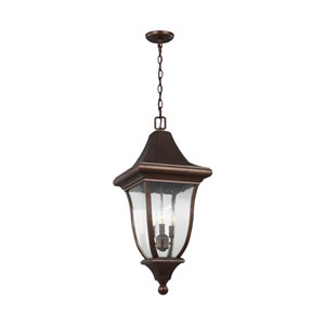 Oakmont Patina Bronze Three-Light Outdoor Pendant Lantern