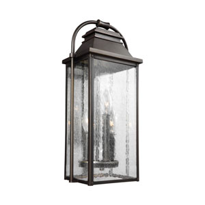 Wellsworth Antique Bronze 9-Inch Three-Light Outdoor Wall Lantern