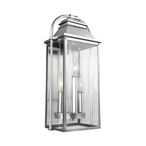 Wellsworth Painted Brushed Steel 9-Inch Three-Light Outdoor Wall Lantern