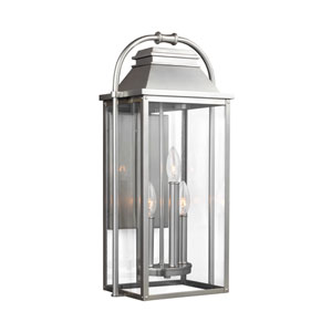 Wellsworth Painted Brushed Steel 11-Inch Three-Light Outdoor Wall Lantern