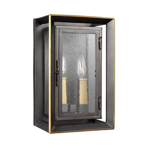 Urbandale Antique Bronze and Painted Burnished Brass 8-Inch Two-Light Outdoor Wall Lantern