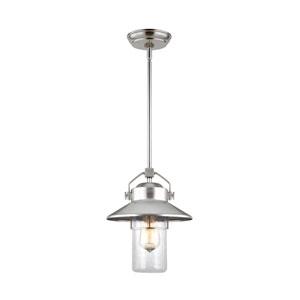 Boynton Painted Brushed Steel 11-Inch One-Light Outdoor Pendant Lantern