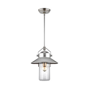 Boynton Painted Brushed Steel 13-Inch One-Light Outdoor Pendant Lantern