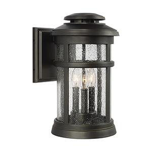 Newport Antique Bronze Three-Light Wall Lantern