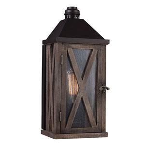 Lumiere Dark Weathered Oak and Oil Rubbed Bronze One-Light 15-Inch High Outdoor Wall Sconce