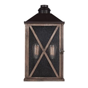 Lumiere Dark Weathered Oak and Oil Rubbed Bronze Two-Light Outdoor Wall Sconce