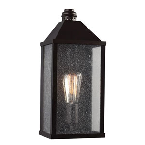 Lumiere Oil Rubbed Bronze One-Light Outdoor Wall Sconce with Clear Seeded Glass Panel