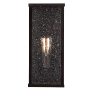 Lumiere Oil Rubbed Bronze One-Light 15-Inch High Outdoor Wall Sconce with Clear Seeded Glass