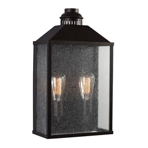 Lumiere Oil Rubbed Bronze Two-Light Outdoor Wall Sconce with Clear Seeded Glass Panel