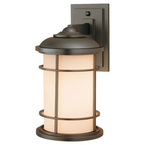 Lighthouse Burnished Bronze One-Light 7-Inch Wide Integrated LED Outdoor Armed Wall Sconce