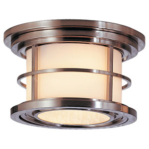 Lighthouse Brushed Steel One-Light Integrated LED Outdoor Flushmount