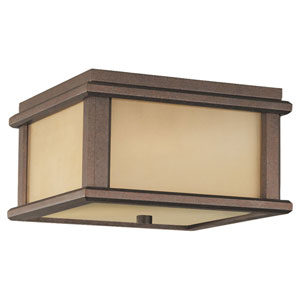 Mission Lodge Corinthian Bronze Two-Light Outdoor Flush Mount