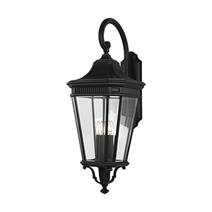 Cotswold Lane Black 36-Inch Four-Light Wall Lantern with Clear Glass