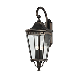 Cotswold Lane Grecian Bronze 36-Inch Four-Light Wall Lantern with Clear Glass