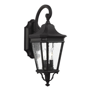 Cotswold Lane Black 9-Inch Two-Light Outdoor Wall Lantern