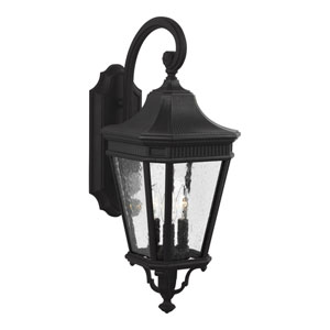 Cotswold Lane Black 10-Inch Three-Light Outdoor Wall Lantern