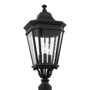 Cotswold Lane Black 10-Inch Three-Light Outdoor Post Lantern