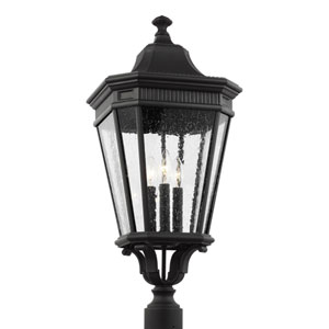 Cotswold Lane Black 12-Inch Three-Light Outdoor Post Lantern