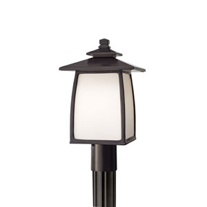 Wright House Oil Rubbed Bronze 16-Inch High One Light Outdoor Lantern Post Mount