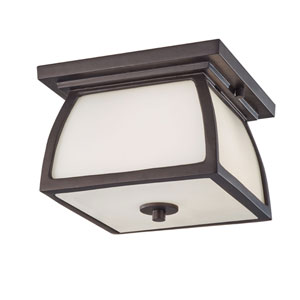 Wright House Oil Rubbed Bronze Two Light Outdoor Lantern Flushmount