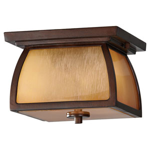 Wright House Sorrel Brown Two-Light Integrated LED Outdoor Flushmount