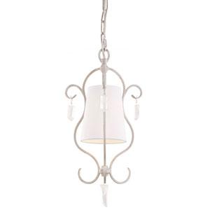 Caprice Chalk Washed One-Light Mini Pendant with White Linen Hardback Fabric Shade