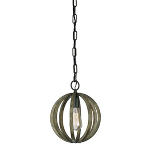Allier Weather Oak Wood and Antique Forged Iron One-Light Mini Pendant