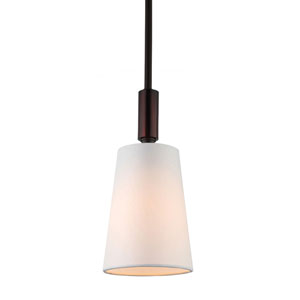 Lismore Oil Rubbed Bronze One-Light Mini Pendant with Ivory Hardback Fabric Shade