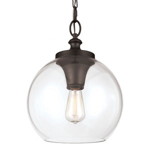 Tabby Oil Rubbed Bronze One-Light Pendant with Clear Glass