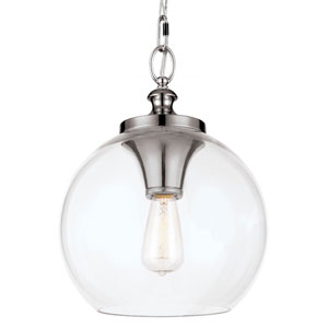 Tabby Polished Nickel One-Light Pendant with Clear Glass