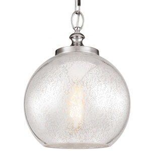 Tabby Brushed Steel One-Light Pendant with Silver Mercury Plating Glass
