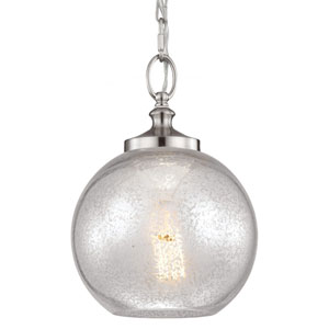 Tabby Brushed Steel One-Light Mini Pendant with Silver Mercury Plating Glass