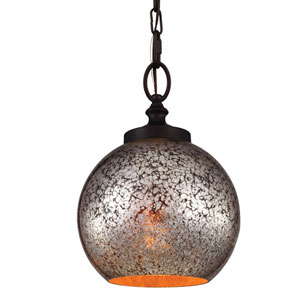 Tabby Oil Rubbed Bronze One-Light Mini Pendant with Brown Mercury Plating Glass