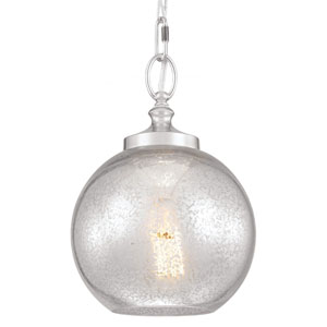 Tabby Polished Nickel One-Light Mini Pendant with Silver Mercury Plating Glass
