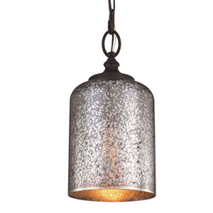 Hounslow Oil Rubbed Bronze One-Light Mini Pendant with Brown Mercury Plating Glass